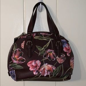 Nwot Dana Buchman brown floral satchel/crossbody